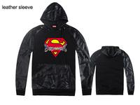 Hip hop leather sleeve Supreme Hoody sweatshirt Pullover billionaire boys club sudaderas hombre mens hoodies and sweatshirts