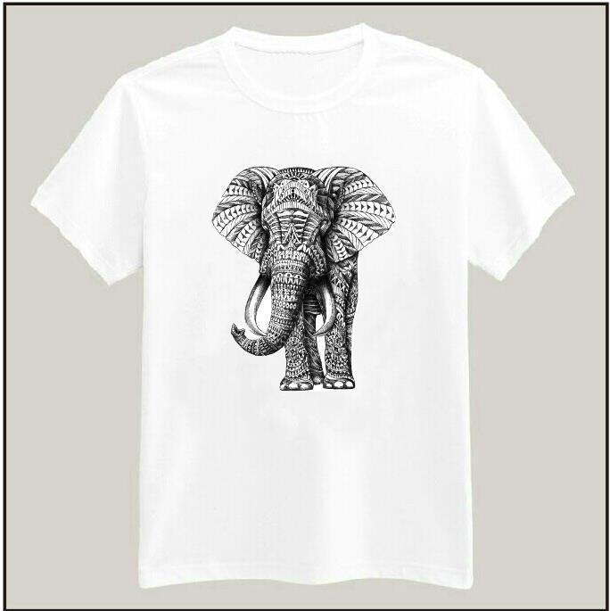 Ornate Elephant Printed Tshirt For Women Men Cotton Casual Shirt White Top Tees Big Size S-XXXL Drop Ship TZ200-407(China (Mainland))