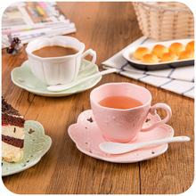Embossed three-piece ceramic cups and saucers, mugs European suits, English afternoon tea K4696