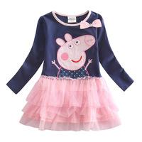 Retail- New Spring&Autumn Fashion Peppa Pig Girl's Baby Dress Lace Girls Dress Children's Dresses Kids Wear Kids Clothes