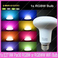 2.4G Wireless E27 Mi.Light 9W RGBW or RGBWW Mushroom Style Par30 LED Bulb AC85-265V Color/Brightness Adjustable& WiFi Compatible