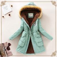 2015 Fashion Winter Womens Parka Casual Outwear Military Hooded Coat Winter Jacket Women Fur Coats Women Overcoat Woman Clothes