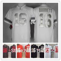 Free Ship Mens NCAA Ohio State Buckeyes 16 J.T. Barrett red black white gray silvery Embroidery logos College Football Jerseys