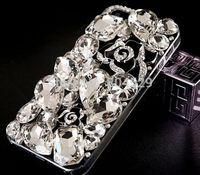 2015 NEW design transparent Rhinestone Diamond  Back Cover for iphone 6 6plus 5G 5S 5C 4G 4S,Crystal Bling Camellias flower Case