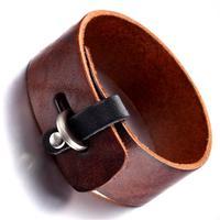 Mens Leather Bracelet, Punk Rock Bangle, Adjustable, Brown  , KR7825