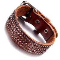 Mens Leather Bracelet, Punk Rock Bangle, Adjustable, Brown  , KR7826