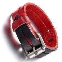 Mens Leather Bracelet, Punk Rock Bangle, Adjustable, Black red, KR7815
