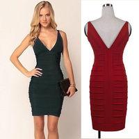 Europe and United States net yarn OL sexy fashion sleeveless Deep v-neckline dress slim bodycon pencil dress party dress