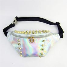 2015 New Rainbow Transparent Bag Punk Chic Hologram FANNY PACK Purse Rivet Fashion Waist Packs Chest Bags for Travel Sales Bolsa(China (Mainland))