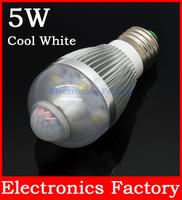 E27 Aluminum 5W 5-8M AL1035 90-250V Infrared Pir Motion Sensor 6 LED Auto Cool White Light Bulb Lamp Bright Soft