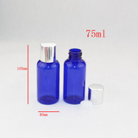 75ml (50pc/lot) empty round high quality plastic PET blue Bottle container  with aluminum screw  top caps,perfume bottle