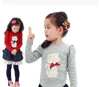 Free Shipping NEW 1PC/Lot Spring & Autumn Children  Girl Cartoon Cartoon Long T- Shirt  Kids Cloth Cotton Fashion tops tees Gift