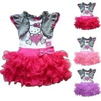 2015 new baby girl summer dress cartoon Princess girl short sleeve dress beautiful party bowknot dress free shipping LI0048