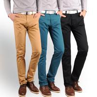 Male men's casual pants slim straight fashion brief 100% cotton casual pants board