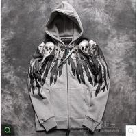 Free shipping Custom edition!  2014 skulls series new style HD feather skeleton men's Hooded Fleece Hoodie Jacket
