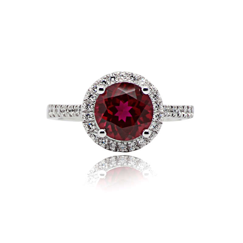 Hot sale Imitation Ruby Round Ring 925 sterling silver jewelry Fashion Platinum Women Red Color swiss