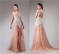 Hot Sale A-Line Sexy V Neck Applique Tulle Split Club Prom Pageant Ball Party Evening Dress NEW