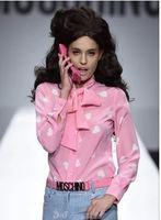 Free Shipping 2015 women's runway fashion barbie pink love heart logo letter print bow lacing long sleeve chiffon shirt blouse