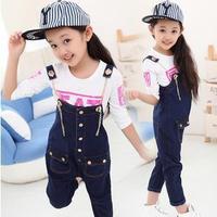 Free Shipping 2015 Autumn Teenage Girls Denim Overalls/Jeans Jumpsuit Kids Denim Casual Bib Pants /Trousers FF883