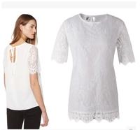 Vestido New In Fashion Women's Shirts Summer Short-sleeve Lace Female Blouse