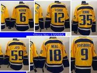 Man Jersey Yellow #6 Weber #9 Forsberg #12 Fisher #18 Neal #35 Rinne #59 Josi Men's Ice Hockey Jerseys Sale