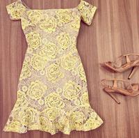 2015 Spring European and American women's Slim short sleeve flower print party dress