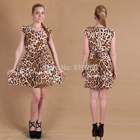 2015 New Style Sexy Leopard Print Casual Elegant Sleeveless Women Dress Ruffles Girl Dresse Hot Sale