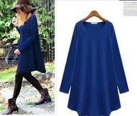 2015 Fashion new fall loose crew neck long sleeves ruffled dress casual dress WD109