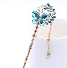 Classic Fashion Cute Rhinestone Butterfly Hair Sticks Jewelry for Women Girls Wholesale HC101(China (Mainland))