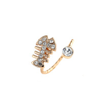 Min. order is 9 usd (can mix) Wholesale New Jewelry 18 K Gold Plated  Fish Bones Rhinestone Resizable Ring