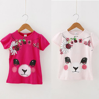 4pcs/lot 2015 summer new arrival girls short-sleeve cartoon and floral printed tops 030