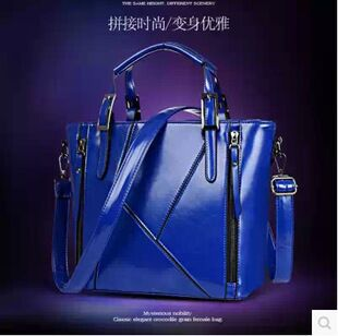 Autumn/winter 2014 brand new big bags fashionable rivets splicing women messenger bag(China (Mainland))