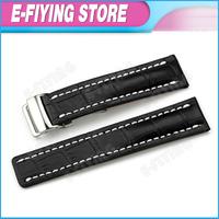 Handmade 24mm Alligator Grain Genuine Leather Watch Band Strap Deployment Clasp for Breitling Mens Bracelet