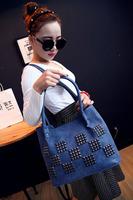 2015 new women nubuck leather handbag rivet shoulder bag large capacity bag casual tide big bag free shipping 6 color