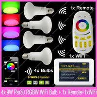 4x E27 Mi.Light 9W RGBW or RGBWW Mushroom Style Par30 LED Bulb AC85-265V+1x WiFi Hub+1x 2.4G Wireless RF 4-Zone Touch Remote