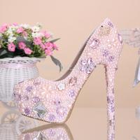 Remarkable Beading Rhinestone Wedding Shoes Size 35-39 Hot Pink Hidden Platform Bride Wedding Dress Shoes