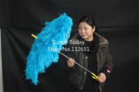 High Quality Handmade Blue Ostrich Hair Feathers Umbrella For Catwalk Stage Show Performance & Photography Props Foldable
