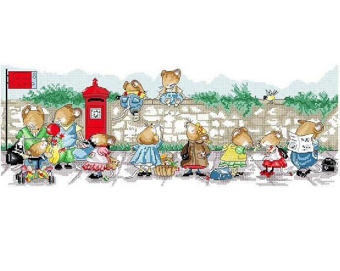 High Quality Cross Stitch Kits Mice Waiting For the Bus Size: 65CMX30CM DIY Embroidery Kit Free Shipping(China (Mainland))