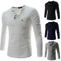High quality! 2015 new Autumn men long sleeve o-neck t shirt fashion pure color casual slim buttons decoation cotton t-shirt Men