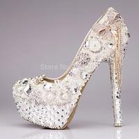 Fashion luxury rhinestone bow ultra high heels shoes women's pearl wedding shoes crystal tassel bridal shoes platform shoes
