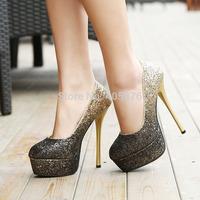 2015 silver gold sparkly pumps shoes for women glitter gladient color wedding pumps bridal shoes Christmas party dress shoes