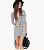 2015 Latest Designs Slim Fitness Clothing Women Fashion Summer Grey Long Sleeve V Neck Asymmetric Casual Belt Dress
