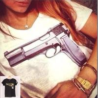 2 Colors New Fashion Brand Women T-shirts Print Gun short sleeve t shirts Stretch Cotton tees Modal tops S/M/L WTS49