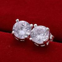 Wholesale Decent 925 sterling silver small earings Jewelry crystal Stud earrings trendy women earrings Free shipping