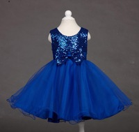 free shipping new girls bow sleeveless sequined dress gauze tutu dress red blue Children clothes