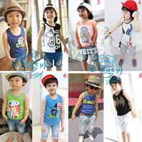2015 summer Korean boy cartoon children vest + jeans shorts 2piece summer suit children Clothes 6set/lot