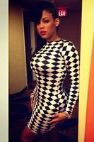 New 2015 New Sexy women dress High Street Black&White Diamond Plaid Vintage Party Dress LC21334