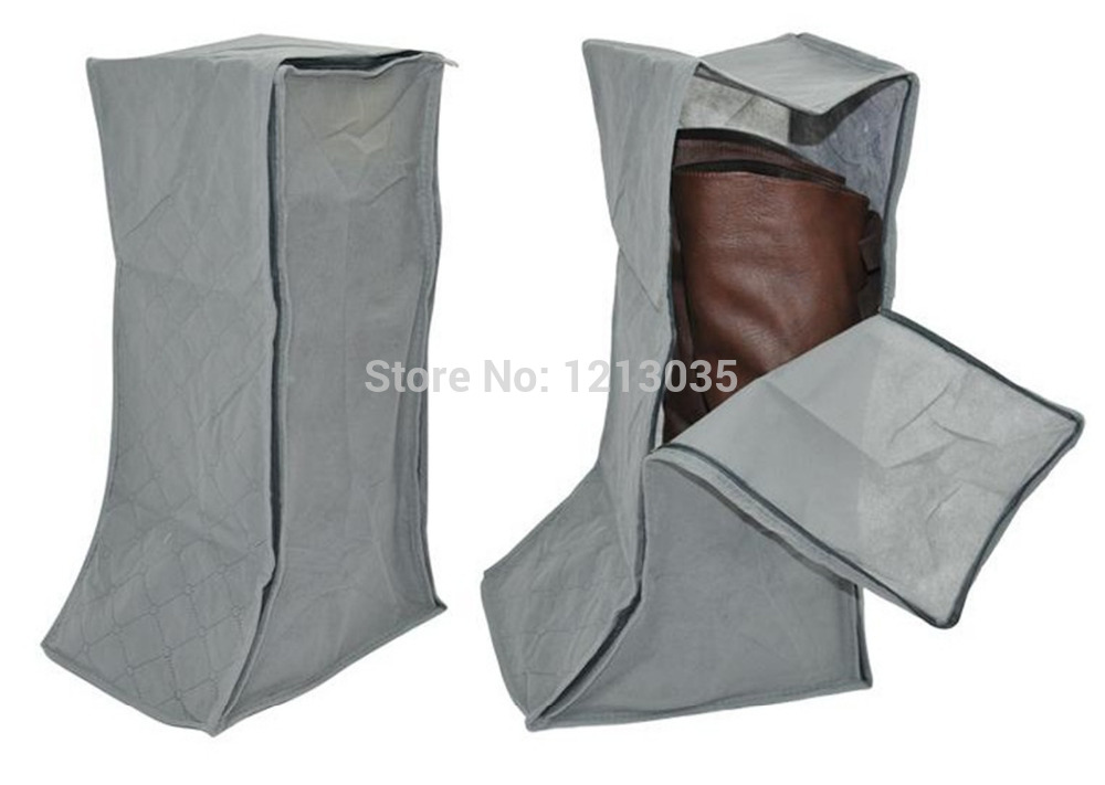1Pcs Gray Folding Plaid Pattern Non-woven Fabrics Storage Box For Boots Organizer(China (Mainland))