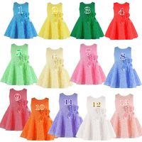 Retail 2015 Summer New girls kids Children Noble Fairy Rese sleeveless dress princess lace dress