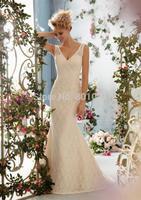 Simple Design Mermaid V-Neck Ivory Beading Sweep Train Lace Bridal Bride Wedding Gown Dresses 2015